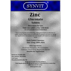 Zinc Gluconate 15mg 100% RDA